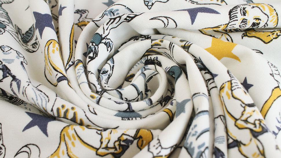 Baumwolljersey weiß: Avalana Dinosaurier  - 162 cm kaufen im Makerist Materialshop