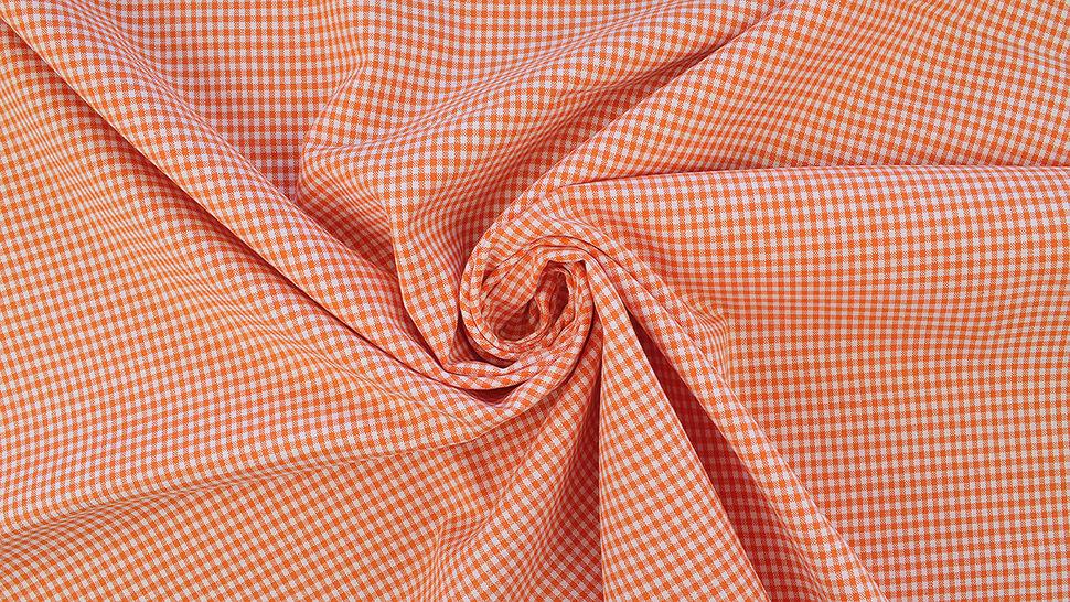 Baumwollstoff orange kariert: Vichy - 140 cm im Makerist Materialshop - Bild 4