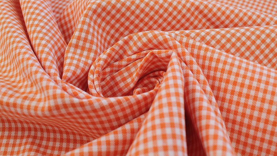 Baumwollstoff orange kariert: Vichy - 140 cm im Makerist Materialshop - Bild 5