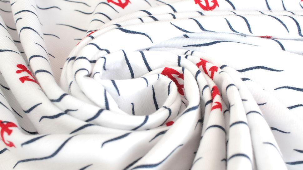 Baumwolljersey weiß: Rote Anker - 150 cm kaufen im Makerist Materialshop