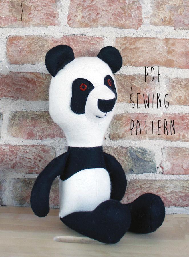 Panda pattern, panda teddy bear sewing pattern