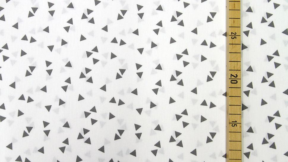 Tissu coton blanc avec triangles gris : Triangle - 150cm dans la mercerie Makerist - Image 2