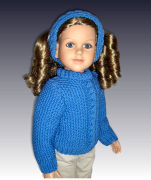 "Download Cable Pullover Sweater, fits 23"" dolls. - Knitting Patterns immediately at Makerist"
