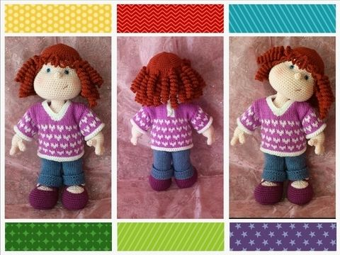 Download Matilda Dolly - Pattern for wig, jeans, shirt and shoes - Knitting Patterns immediately at Makerist