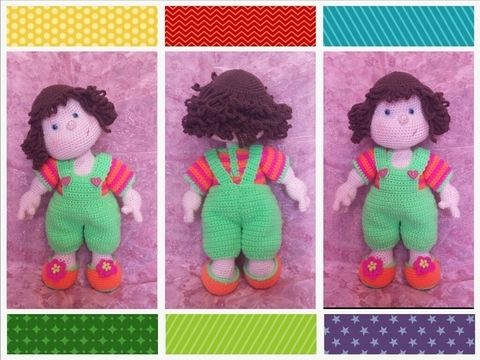Download Matilda Dolly - Basic doll with CROCHETED clothes - Crochet Patterns immediately at Makerist