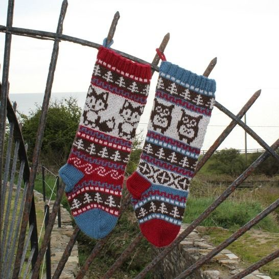 Download Christmas Stocking - Fair Isle Owl and Fox - Knitting Patterns immediately at Makerist