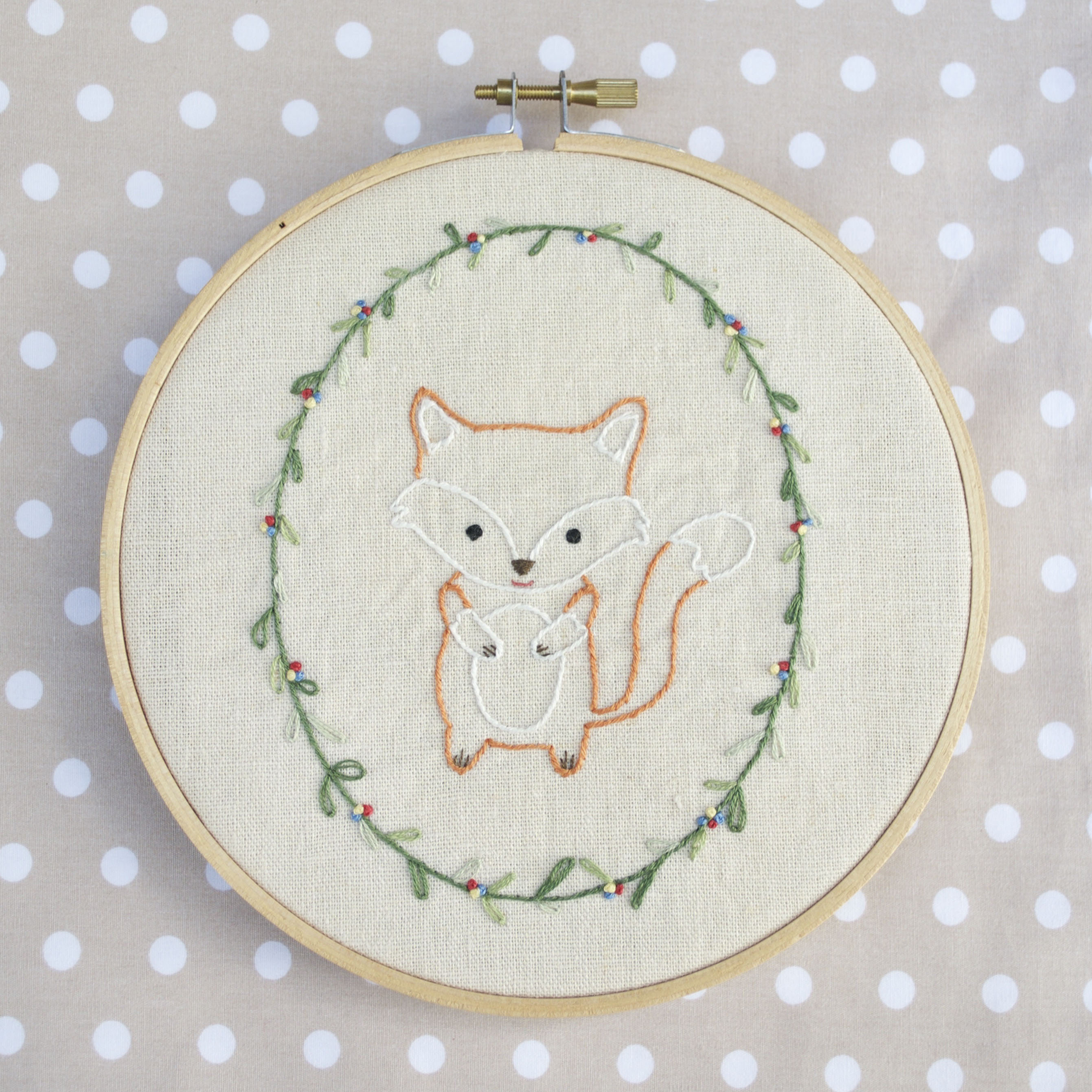 Little Fox Hand Embroidery Pdf Pattern Instructions