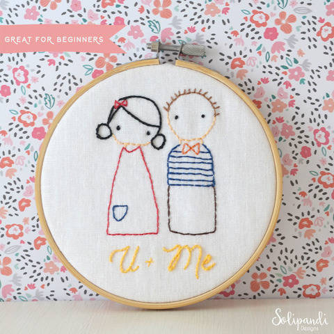 Download U + Me sweet couple, hand embroidery PDF pattern & instructions immediately at Makerist