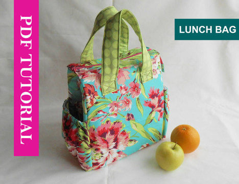 Insulated Lunch Tote Bag Pdf Sewing Pattern With Detailed