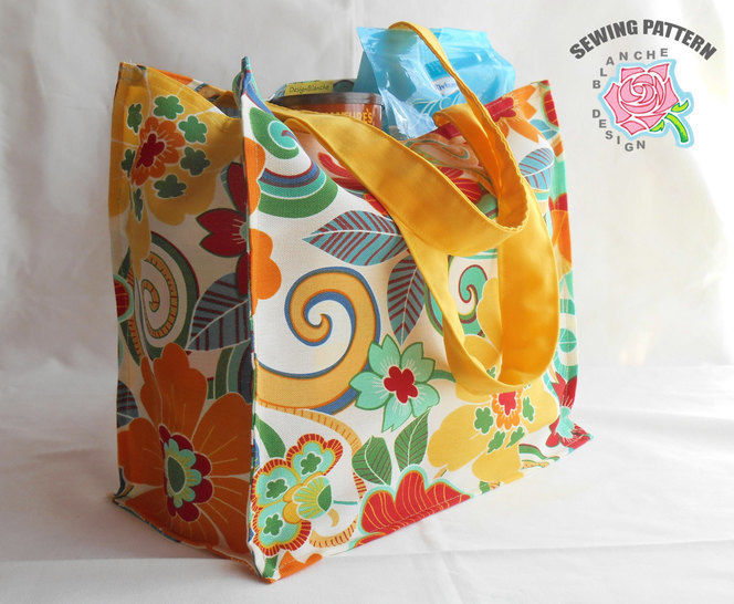 Reusable Grocery Shopping Bag Sewing Pattern With Or Without A