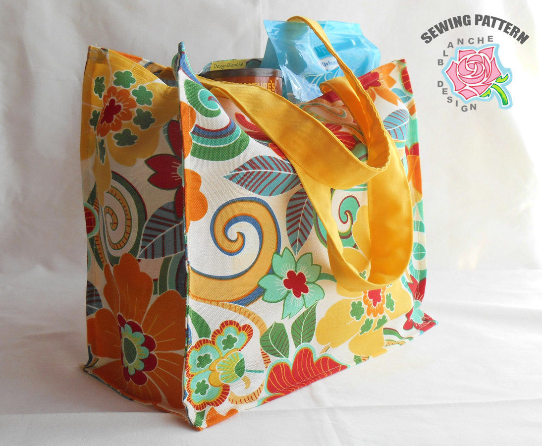 Reusable Grocery / Shopping Bag Sewing Pattern with or without a Lining