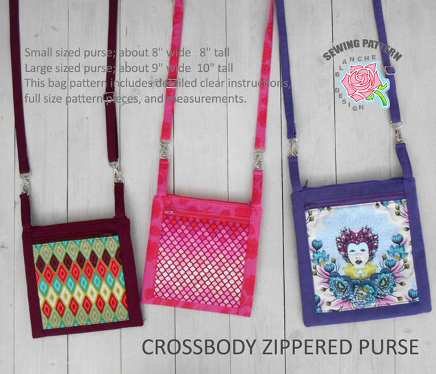 Download Crossbody Zippered Purse Pattern with a smart phone pocket - Sewing Patterns immediately at Makerist