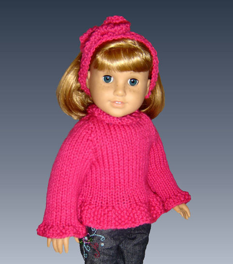 "Download Ruffled Edge Sweater for 18"" Doll - Knitting Patterns immediately at Makerist"