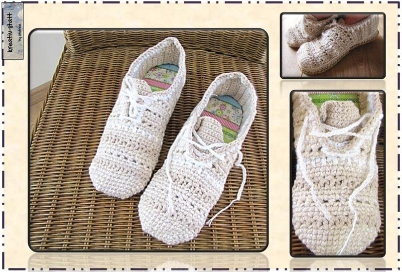 Hausschuhe Slippers Sneakers zum Schnüren - Häkelanleitung