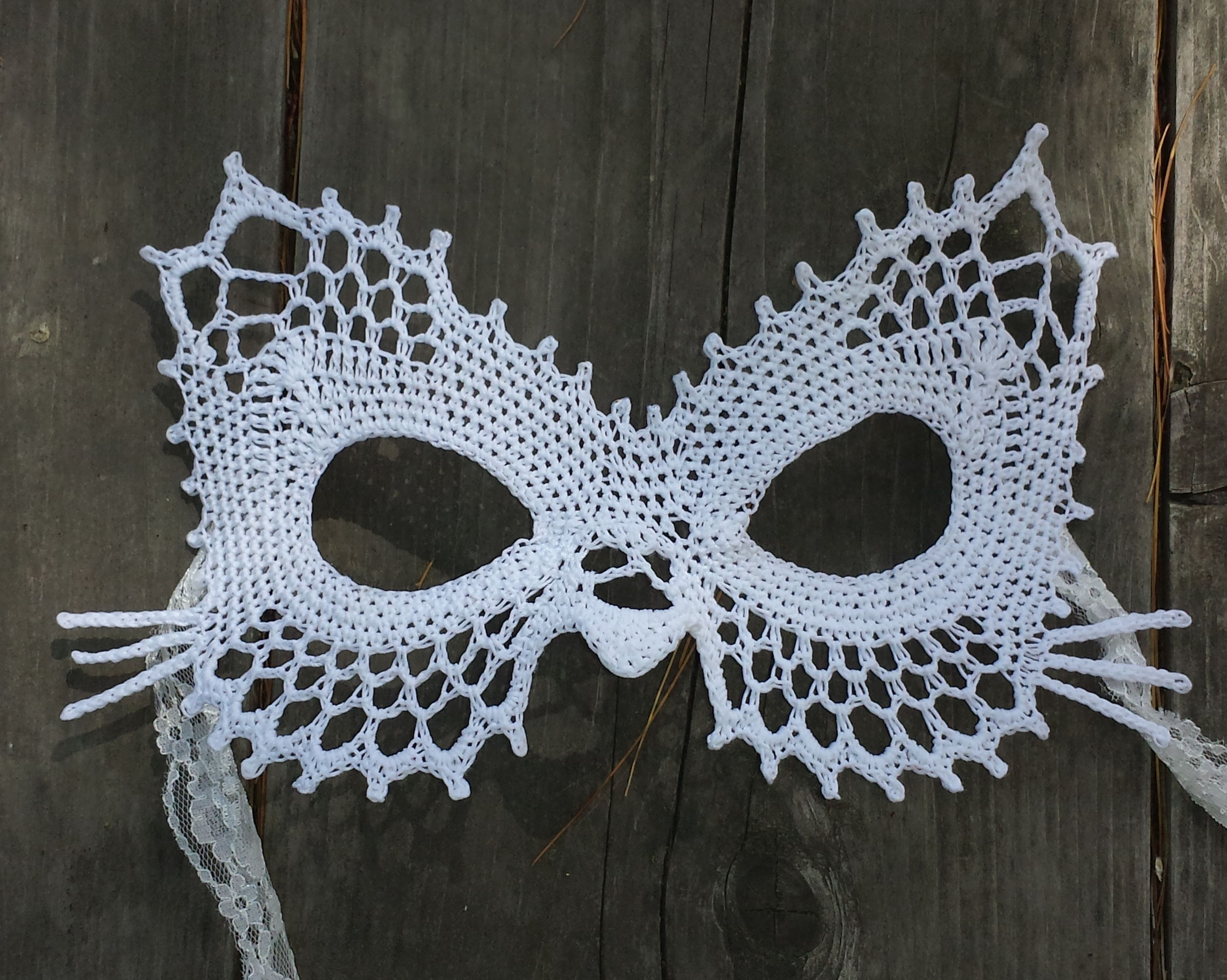 Lace Cat Masquerade Mask Dress Up Or Photo Prop Crochet Pattern