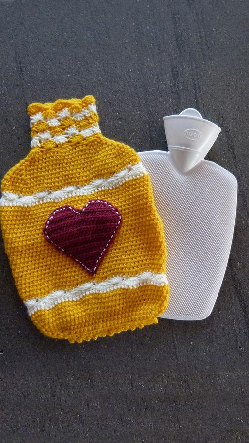 Wärmflaschen Bezug – Hülle Herz, eine Häkelanleitung von DaDaDe
