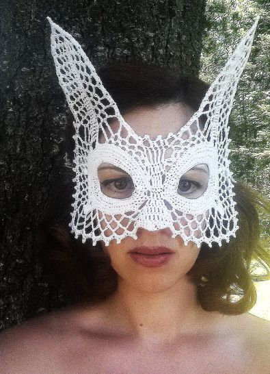 Download Rabbit Lace Masquerade Mask (dress up or photo prop)- crochet pattern - Crochet Patterns immediately at Makerist