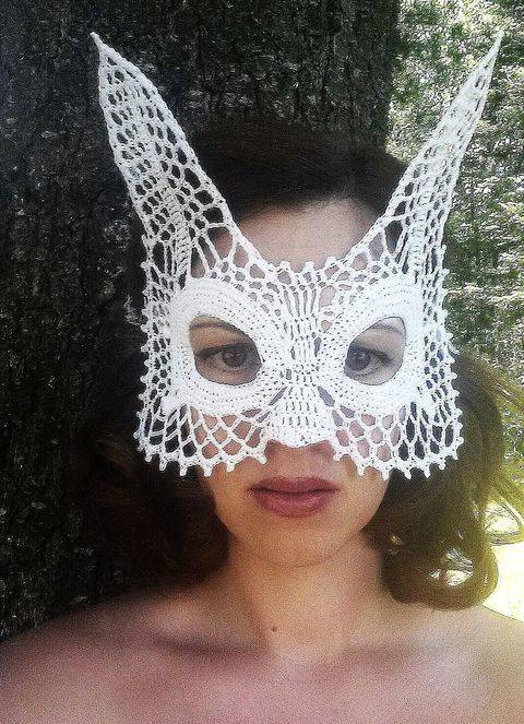 Download Rabbit Lace Masquerade Mask (dress up or photo prop)- crochet pattern immediately at Makerist