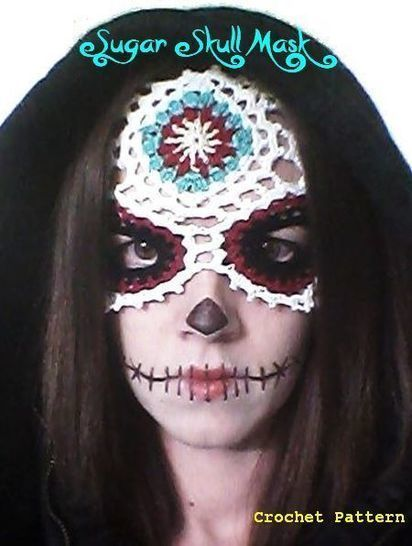 Download Sugar Skull -Día de Muertos/ Day of the Dead- Lace Masquerade Mask (costume or photo prop)- crochet pattern - Crochet Patterns immediately at Makerist