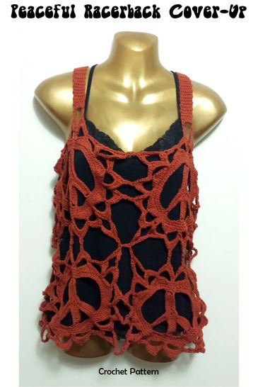 Peace Sign Racer Back Boho Cover Up Top Crochet Pattern