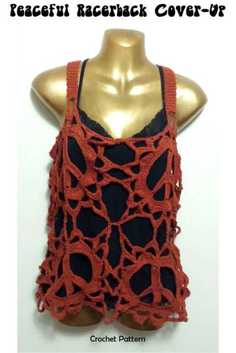 Download Peace Sign Racer back Boho Cover Up Top - crochet pattern immediately at Makerist