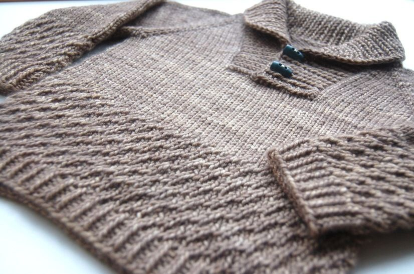 Boy Sweater With Shawl Collar Knitting Pattern