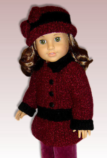 "Download Faux Velvet Coat - 18"" Doll - Knitting Patterns immediately at Makerist"