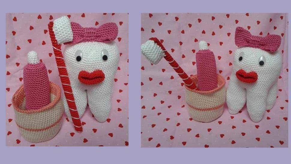 Häkelanleitung Zahn mit Becher und Zubehör - Häkelanleitungen bei Makerist sofort runterladen
