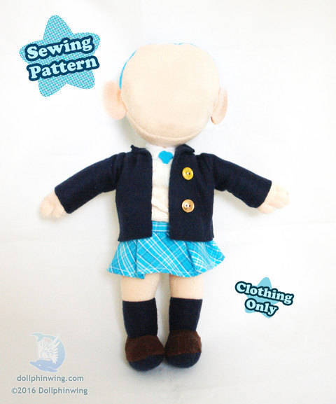 Download Little Doll Clothing Pattern School Uniform immediately at Makerist