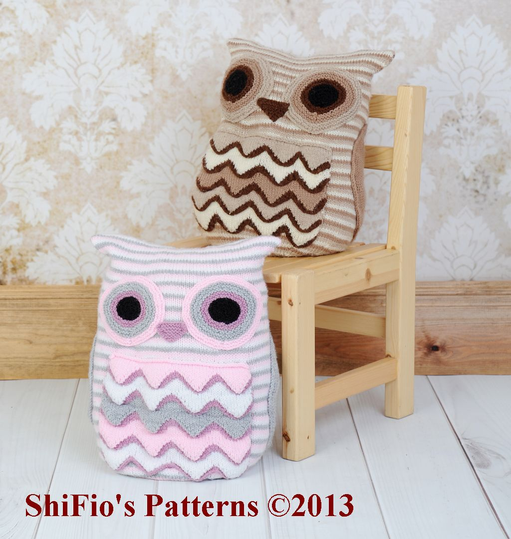 Owl Cushion Knitting Pattern #239
