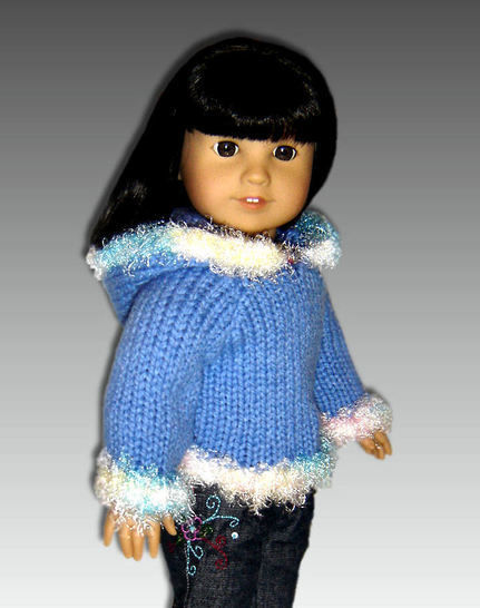 "Download Fun Fur Hoodie for 18"" Doll - Knitting Patterns immediately at Makerist"