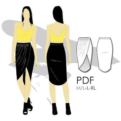 Télécharger Jupe asymétrique portefeuille, mi-longue - L-XL - couture tout de suite sur Makerist