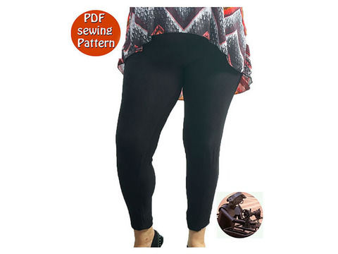 Download Women's stretch leggings - High waisted -  Size 46 48 50 52 54 56 - French/english PDF sewing pattern  - Sewing Patterns immediately at Makerist