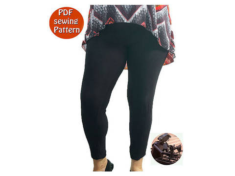 Download Women's stretch leggings - High waisted -  Size 46 48 50 52 54 56 - French/english PDF sewing pattern  immediately at Makerist
