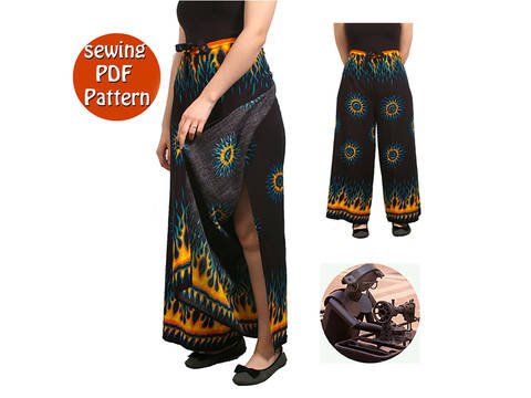 Download Thai Women beach pants -  Fit all sizes - French/english PDF sewing pattern immediately at Makerist