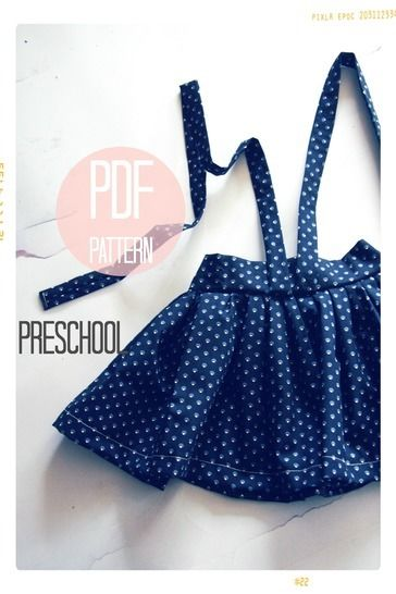 Download High Waist Suspender Skirt + Sash Sewing Pattern - Preschool (4T, 5 + 6) - Sewing Patterns immediately at Makerist