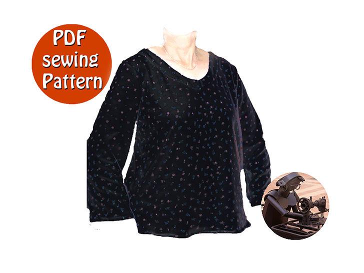 Download Womens sweater - Small and plus sizes XS S M L XL XXL - French/english PDF sewing pattern - Sewing Patterns immediately at Makerist