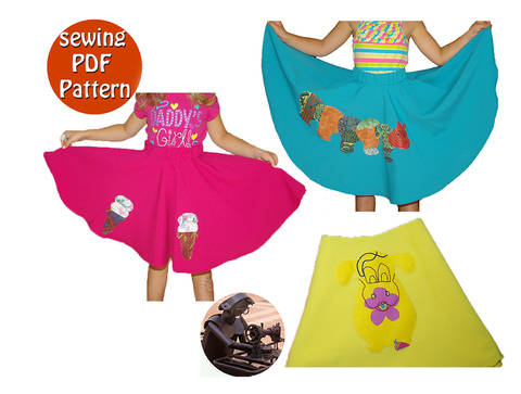Download Vintage circle skirt for little girl- The age of 0 to12 years - Appliques design included - Multisize PDF sewing pattern -  french/english  immediately at Makerist