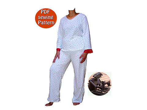Download  Women's pajamas or jogging suit - Sizes XS S M L XL XXL - French/english PDF sewing pattern  - Sewing Patterns immediately at Makerist