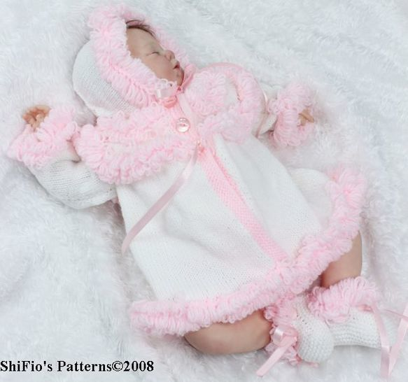 Download KP31 Loopy Jacket, Booties & Hat Baby Knitting Pattern #31  - Knitting Patterns immediately at Makerist