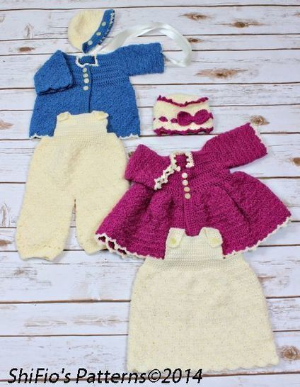 Download CP35 Winter Matinee Jacket, Dress, Dungarees, Hats Crochet Pattern #35 - Crochet Patterns immediately at Makerist