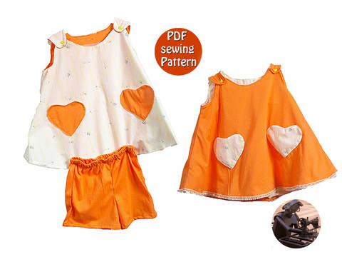 Download Reversible dress & shorts for children girl -  T104 110 116 - French/english PDF sewing pattern  immediately at Makerist