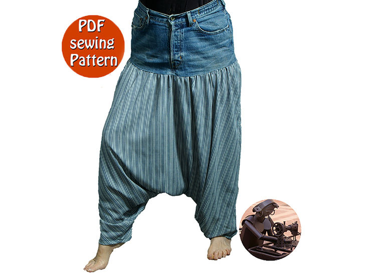 Download Baggy pants low crotch made with recycled jeans - Saroual for adult & children - Patron de couture PDF français/anglais  - Sewing Patterns immediately at Makerist