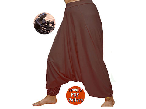 Download Universal harem trousers yoga pants - Unisex saroual -  Fits for all - French/english PDF sewing pattern  - Sewing Patterns immediately at Makerist