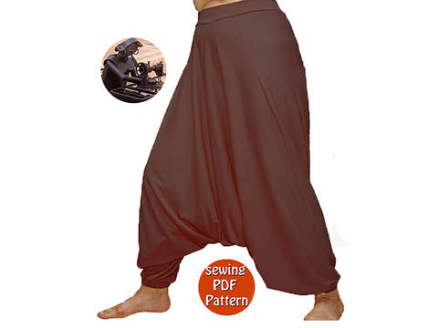 Download Universal harem trousers yoga pants - Unisex saroual -  Fits for all - French/english PDF sewing pattern  immediately at Makerist