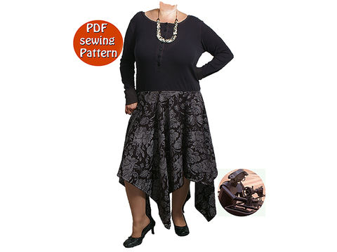 Download Women's dress with peaks - Transformation of an old sweaster - Multisizes - French/english PDF sewing pattern   - Sewing Patterns immediately at Makerist