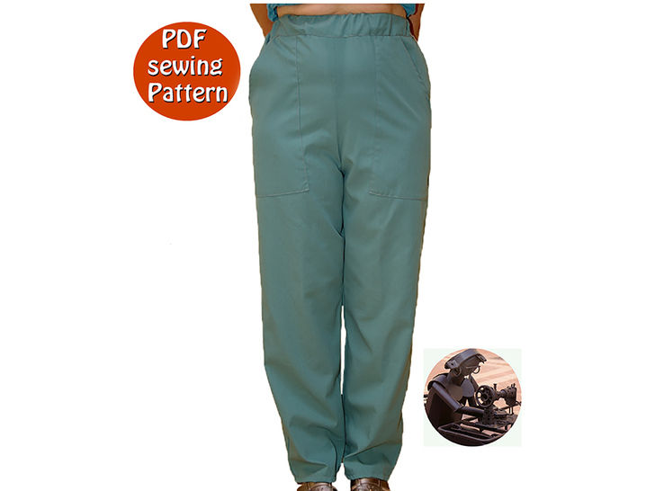 Download Women's pants -  Great for uniform  - High waisted - Size 36 to 58 - French/english PDF sewing pattern  - Sewing Patterns immediately at Makerist