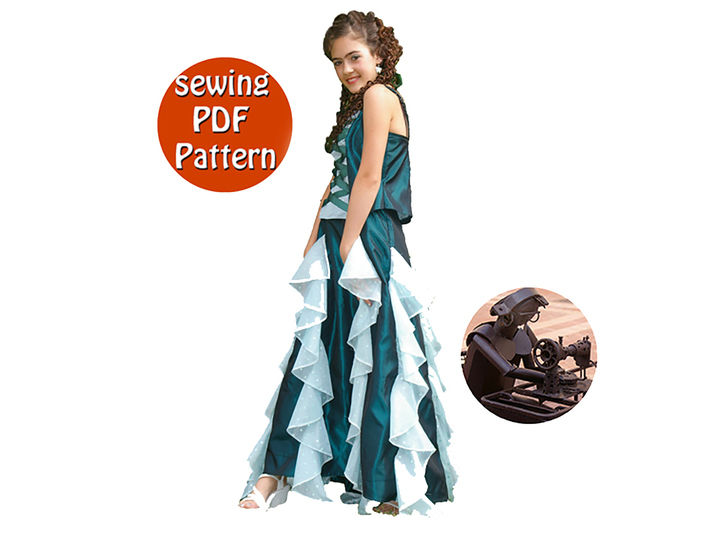 Download Young women skirt & bodice -  T 32 34 36 38 - French/english PDF sewing pattern  - Sewing Patterns immediately at Makerist