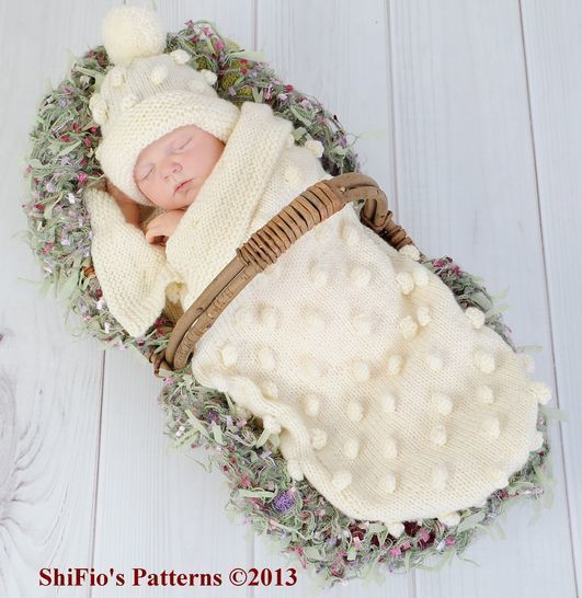 Download KP128 Bobble Cocoon, Papoose & Hat Baby Knitting Pattern #128  - Knitting Patterns immediately at Makerist