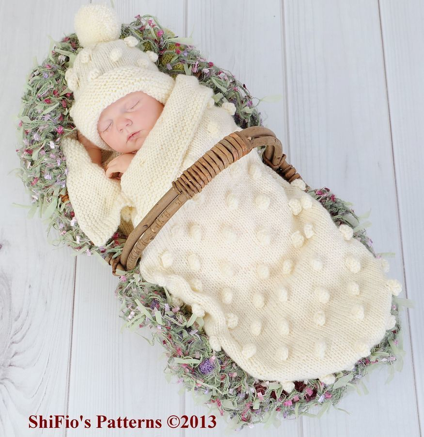 KNITTING PATTERN For Baby Bobble Cocoon, Papoose & Hat in 2 Sizes 0 ...